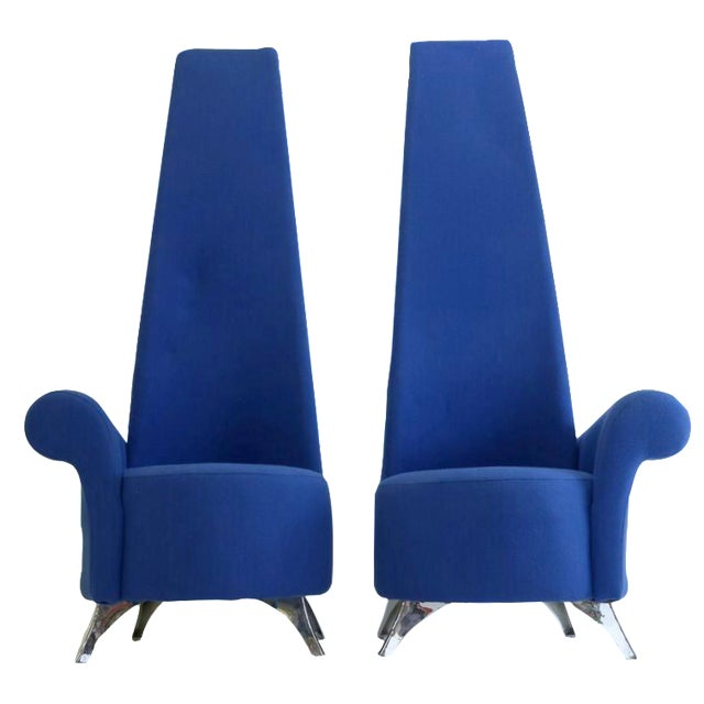 Modern Italian High Back Chairs - A Pair - Image 1 of 8