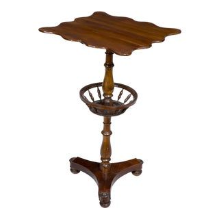 Mahogany Federal Classical Candle Stand with Basket
