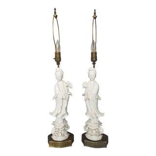 Blanc De Chine Kwan Yin Lamps - A Pair