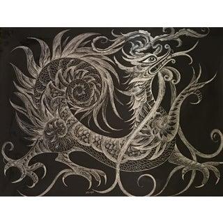 Sascha Brastoff Modernist Silver Foil Fantasy Dragon Print
