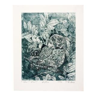 1986 E. McBride Owls Etching