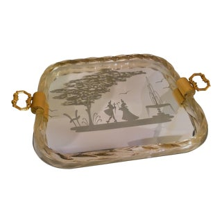 Large Venetian Glass Etched Serving / Vanity Tray