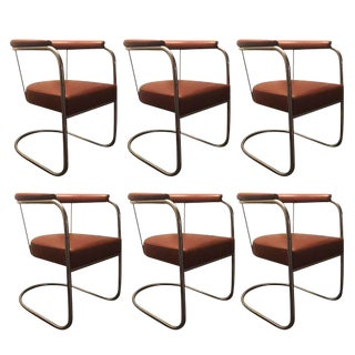 Bauhaus Chrome & Leather Cantilever Dining Chairs - Set of 6