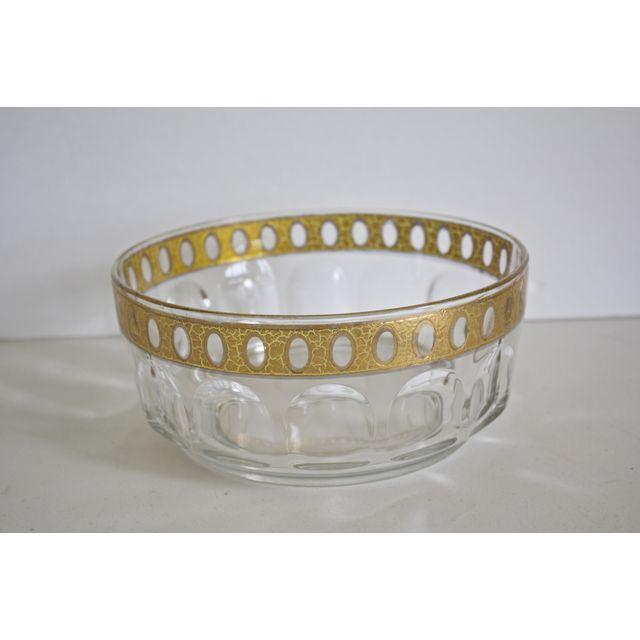 Image of Vintage 1960s Culver Gold Rim Glass Bowl