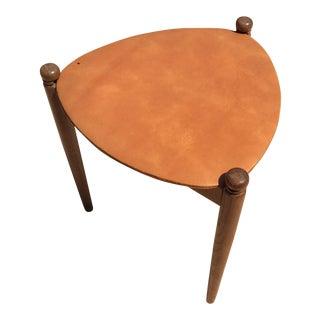 Mid-Century Vintage Walnut Tri-Leg Leather Side Table or Stool