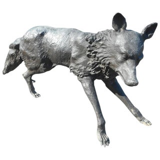 Unique Bronze Wolf Statue