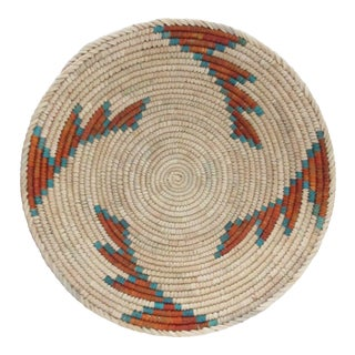 Native American Style Turquoise Edge Step Pattern Basket