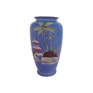 Hand-Painted 1950s Pagoda Vase