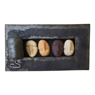 Modernist Hellenic Ceramic 4 Faces in Sardine Can