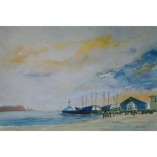 Fishing Harbor at Dawn Watercolor Painting