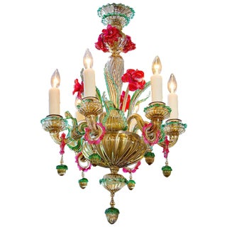 Colorful Italian Blown Murano Glass Chandelier, circa 1920