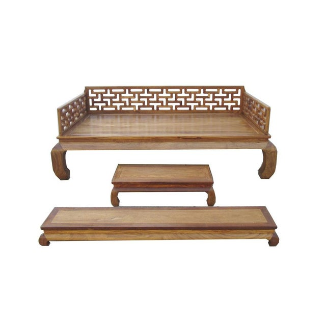 Oriental rosewood daybed couch bench set 3 chairish Daybed bench