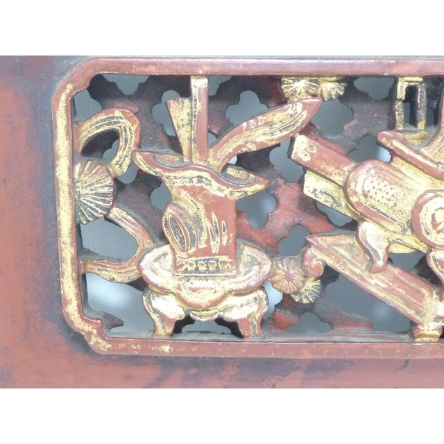 Chinese Carved Wood Panel With Brass Hanger - Image 2 of 6