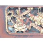 Image of Chinese Carved Wood Panel With Brass Hanger