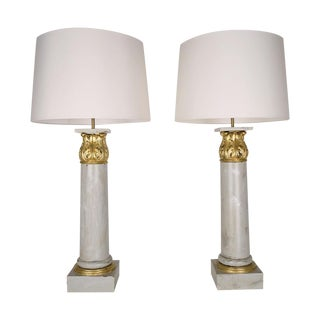 French Corinthian Column Table Lamps - Pair