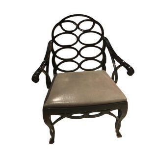 "Truex American Furniture ""Loop Chair"" Ebony Leather Available as a Pair"
