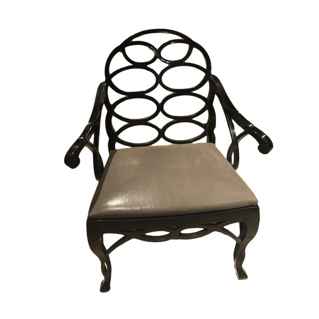 "Truex American Furniture ""Loop Chair"" Ebony Leather Available as a Pair* - Image 1 of 4"