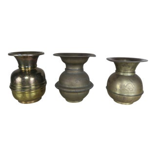 Three Vintage Brass Chewing Tobacco Spittoons