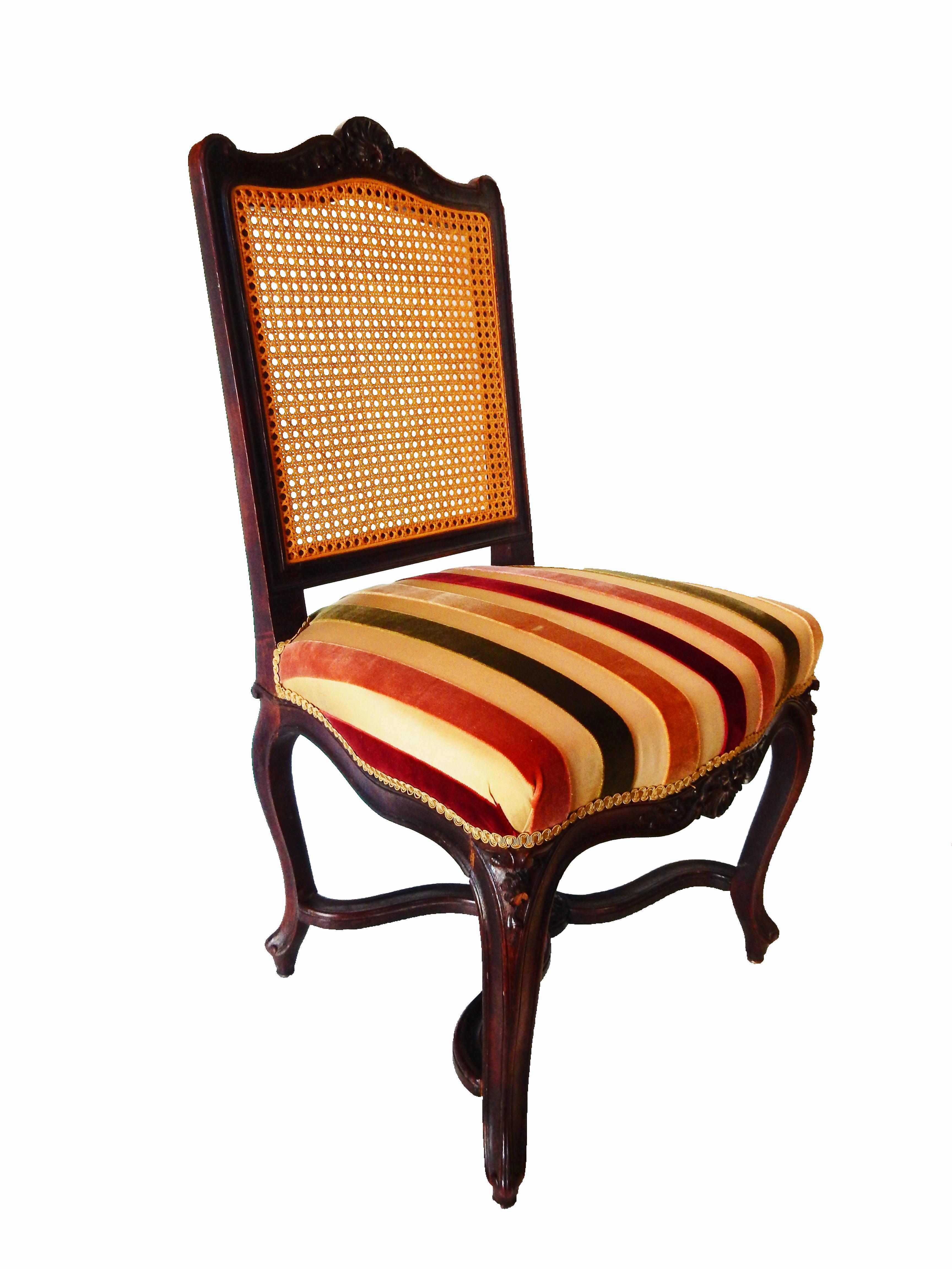 French Cane Amp Velvet Side Chair Chairish