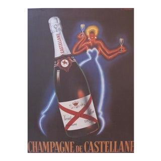 French Champagne Poster, Neon Lady, Champagne de Castellane