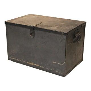 Vintage Industrial Black Steel Storage Chest