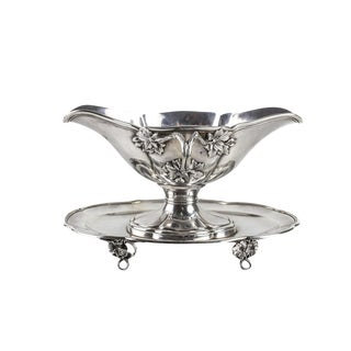 French 950 Sterling Silver Applied Leaves Gravy Boat Tray & Underplate, C. 1910