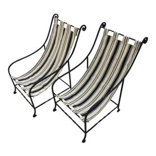 1940's Outdoor Iron Sling Chairs - A Pair