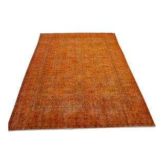 "Orange Turkish Overdyed Rug - 6'7"" X 10'"