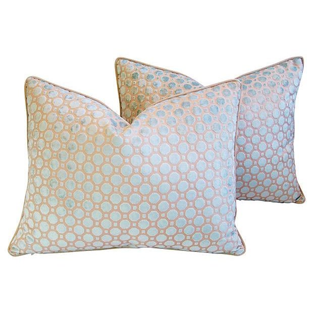 Aqua Blue Velvet Geometric Pillows - Pair - Image 3 of 7