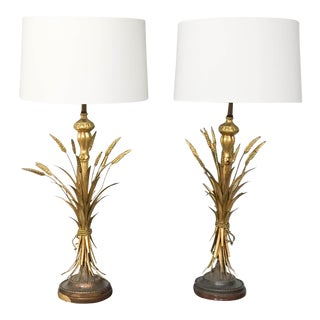 Frederick Cooper Mid-Century Wheat Sheaf Lamps - A Pair