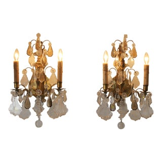 Antique French Brass & Crystal Sconces - A Pair