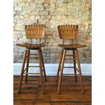 Image of Arthur Umanoff Style Maple Bar Stools - A Pair