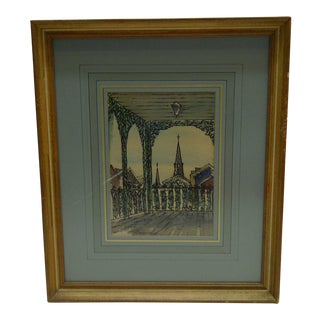 """Circa 1950 J. Donnels """"View From Artist's Window"""" Watercolor Painting"""