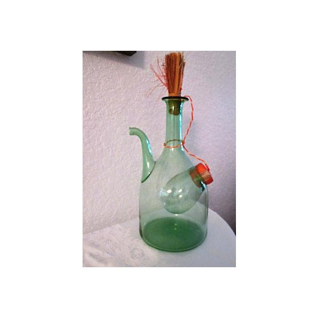 Image of Vintage Italian Green Blown Glass Wine Carafe