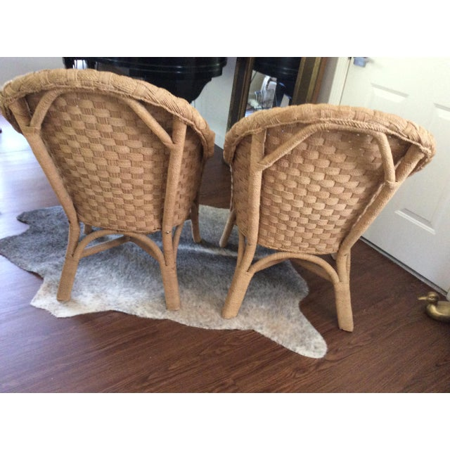 Woven Bistro Chairs With Cushions - A Pair - Image 4 of 5