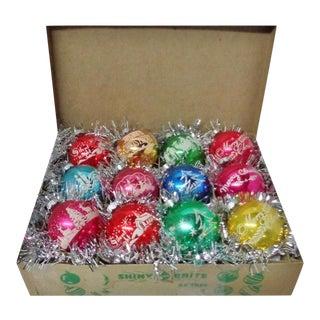 1960's Rare Vintage Shiny Brite Multi Color Stencil Christmas Tree Scene Ornaments - Set of 12