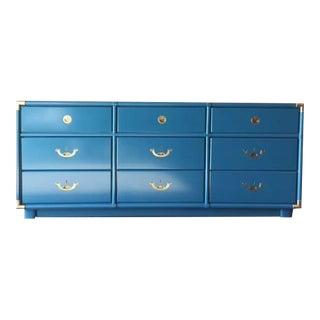 Vintage Hollywood Regency Blue Green Lacquer Dresser by Drexel