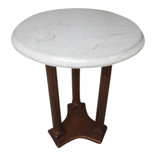 Marble & Wood Side Table