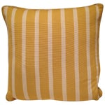 Image of Yellow and White Striped Pillows - A Pair