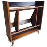 Image of Mid-Century Walnut Bookcase Tilted Shelves