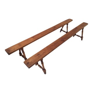Antique French Farmhouse Benches - A Pair