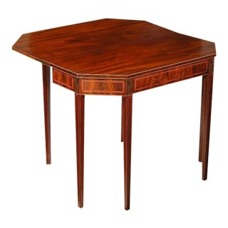 Carved Hepplewhite Figured Mahogany Inlaid Six-Legged Card Table