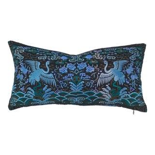Hollywood Regency Blue & Black Asian Chinoiserie Boudoir Pillow