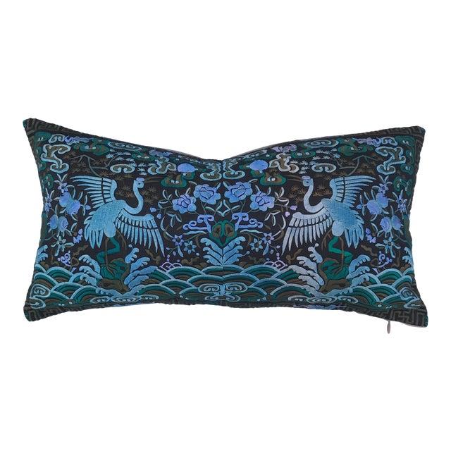 Hollywood Regency Blue & Black Asian Chinoiserie Boudoir Pillow - Image 1 of 6