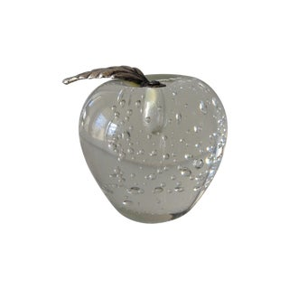 Vintage Glass Apple Paperweight with Bubbles