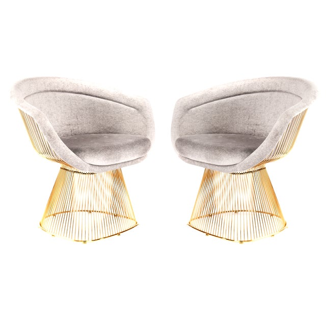 Image of Platner Inspired Gold Lounge Chair - a Pair
