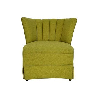 Mid-Century Green Channel Tufted Slipper Chair