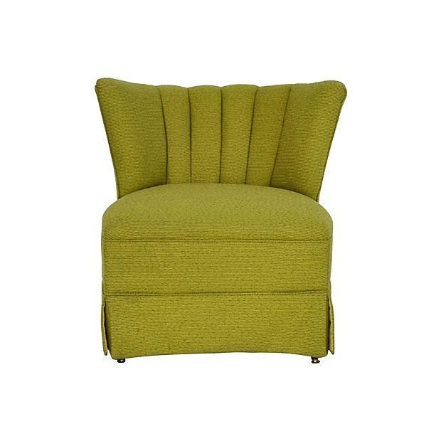 Mid-Century Green Channel Tufted Slipper Chair - Image 1 of 5