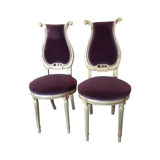 Purple Mohair Harp Back French Chairs - A Pair