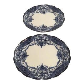 Blue Transferware Platters - A Pair